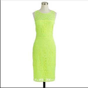 J crew collection Neon green lace tank dress